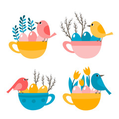 Cute cup with bird, eggs and leaves for easter isolated on white.