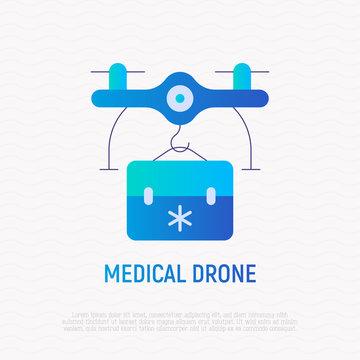 Medicine drone delivery flat gradient icon. Modern vector illustration.