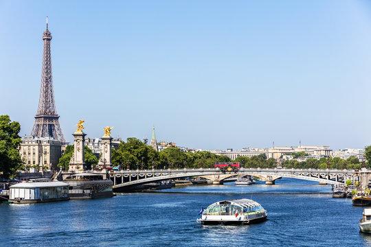 Pont Alexandre III Bridge with Eiffel Tower. Paris, France