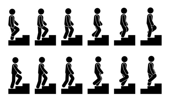 Stick figure male on stairs icon set. Vector man walking step by step sequence pictogram