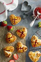 Strawberry hand pies heart shaped for Valentines day