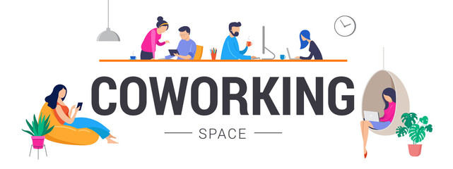 Co-working space, concept illustration. Young people working on laptops and computers on shared modern office workplace. Vector flat style illustration