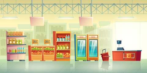 Grocery store trading room interior cartoon vector with shopping baskets near cash counter desk, fridges with drinks, food products on racks shelves illustration. Supermarket sale background template