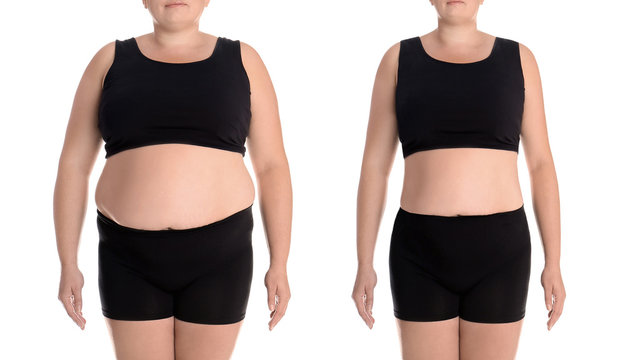 Young woman before and after weight loss on white background, closeup