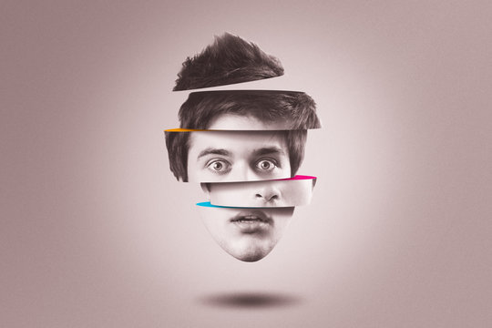 Split personality concept. Isolated cutout head of person with mental health disorder