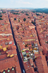 Aerial view of the rooftops of the old city of Bologna Italy