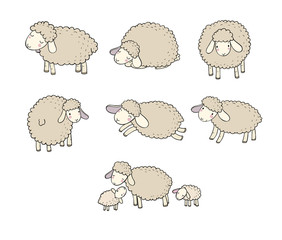 Cute cartoon sheep set. Farm animals. Funny lambs. good night sweet dreams