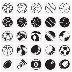 Sport ball icons set on squares background for graphic and web design, Modern simple vector sign. Internet concept. Trendy symbol for website design web button or mobile app