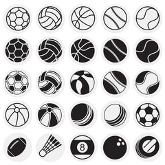 Sport ball icons set on circles background for graphic and web design, Modern simple vector sign. Internet concept. Trendy symbol for website design web button or mobile app