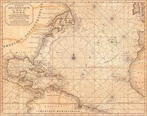 Fotomurales - 1683, Mortier Map of North America, the West Indies, and the Atlantic Ocean