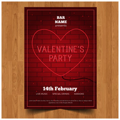 Elegant Lovely valentines day party invitation celebration flyer
