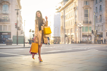Elegant woman walking in a big city, carrying shopping bags