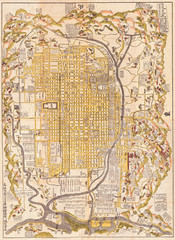 Fototapete - 1696, Genroku 9, early Edo Japanese Map of Kyoto, Japan