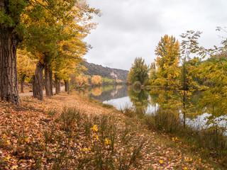River Duero, with the hermitage of San Saturio in autumn