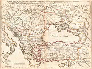 Fotomurales - 1715, De L'Isle Map of the Eastern Roman Empire under Constantine, Asia Minor, Black Sea, Balkans