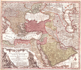 Fotomurales - Old Map of Turkey, Ottoman Empire, Persia and Arabia, Seutter 1730