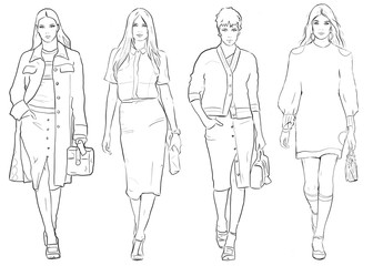 Trendy girls. Fashion models with trendy cloth line drawing set