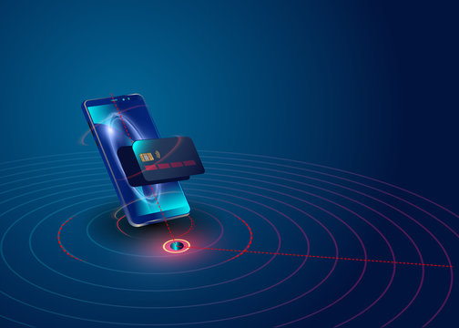Isometric mobile phone and internet banking. online payment security transaction via credit card. protection shopping wireless pay through smartphone. digital technology transfer pay