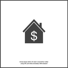 Vector house icon with dollar symbol. Money symbol.