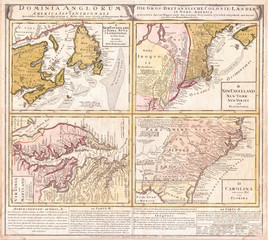 Fototapete - 1737, Homann Heirs Map of New England, Georgia and Carolina, and Virginia and Maryland