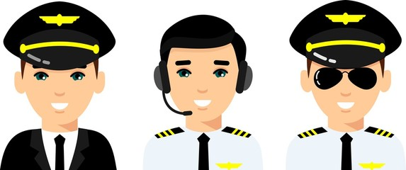 Set of people aviation professions, avatar pilot, captain, and airline staff. Group of flat cute cartoon face of aircraft characters in air uniform.