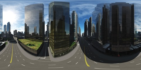 HDRI, environment map , Round panorama, spherical panorama, equidistant projection, panorama 360, Modern city at sunrise