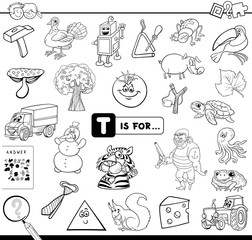 T is for educational game coloring book