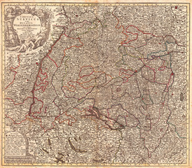 1740, Seutter Map of Swabia and Wirtenberg, Germany