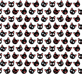 Vector illustration. Seamless pattern with cute cats. Character design.