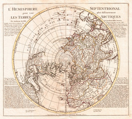 Fototapete - 1741, Covens and Mortier Map of the Northern Hemisphere, North Pole, Arctic