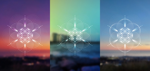 "Set of vector templates of cards or poster; Spiritual sacred geometry; Abstract geometric shapes based on ancient symbol - ""flower of life"" on photographic background; Yoga, meditation and relax."