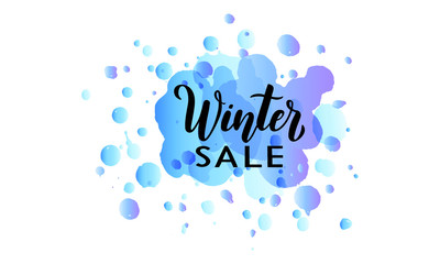 Winter SALE poster with hand written lettering text on blue watercolor background for advertising and promotion. Vector illustration EPS10.