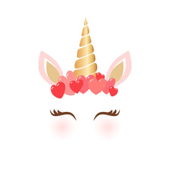 Cute unicorn character vector illustration - Cartoon unicorn head with heart crown for valentine's day greeting cards and shirt design
