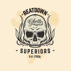 Beatdown ghetto superiors est 1986. illustration of skull, Dirty paint art of skull. Skull image in grunge artistic technique with  colors. Vector art.