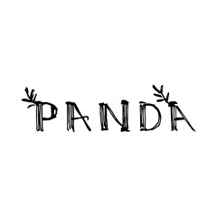 Panda lettering in graphic style. Vector hand drawn illustration.