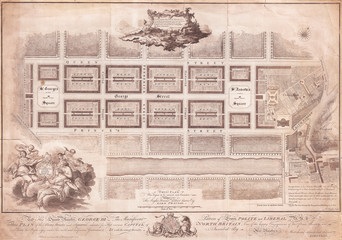 Fotomurales - 1768, James Craig Map of New Town, Edinburgh, Scotland, First Plan of New Town
