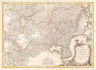1770, Bonne Map of Chinese Tartary, Mongolia, Manchuria and Korea, Corea, Rigobert Bonne 1727 – 1794, one of the most important cartographers of the late 18th century
