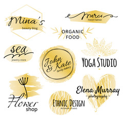 Black and golden logo collection. Identity vector logotype set.