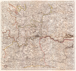 1773, Kitchin Map of the Country 30 Miles around London, England