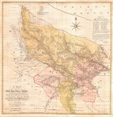 1777, Rennell, Dury Wall Map of Delhi and Agra, India