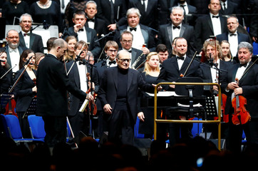 Italian composer Ennio Morricone arrives to conduct a concert in Berlin