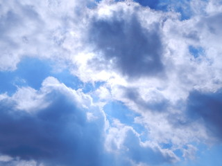 Blue sky with clouds and sunshine