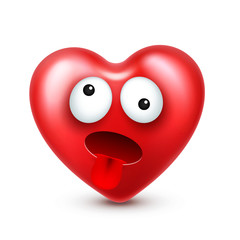 Heart smiley emoji vector for Valentines Day. Funny red face with expressions and emotions. Love symbol.