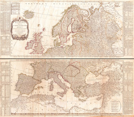 1794, D'Anville Two Panel Wall Map of Europe