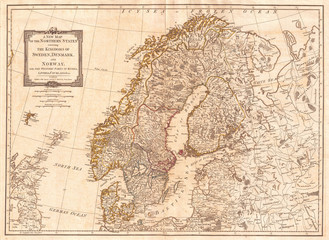 Fototapete - 1794, Laurie and Whittle Map of Norway, Sweden, Denmark and Finland, 1794 - 1812