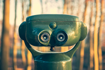 Green binoculars in the forest