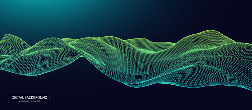 Abstract background with waves. 3D surface.