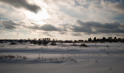Winter picture. Lot of snow and beauty russian nature
