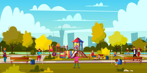 Vector background of cartoon playground in park with people, children playing. Landscape with green trees, plants and bushes. Recreation area for girls, boys. Amusement space with swings, benches.