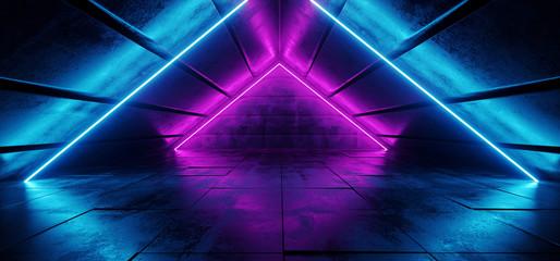 Sci Fi Futuristic Modern Elegant Triangle Shaped Grunge Reflective Concrete Tunnel With Neon Glowing Purple Blue Vibrant Dance Lights Retro Dark 3D Rendering